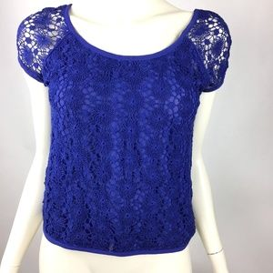 Anthropologie Royal Blue Crochet Top Short Sleeve